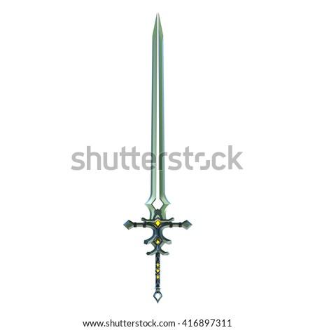 3D CG rendering of a sword - stock photo