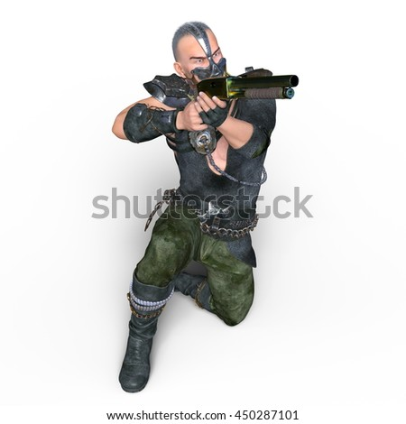3D CG rendering of a warrior