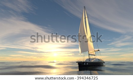 3D CG rendering of a yacht