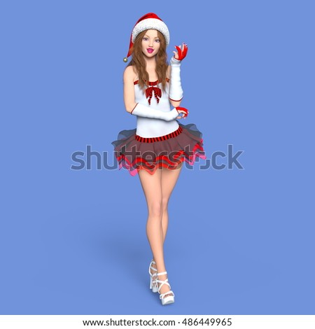 3D CG rendering of a young woman with Santa Claus hat