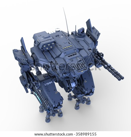 3D CG rendering of battle robot