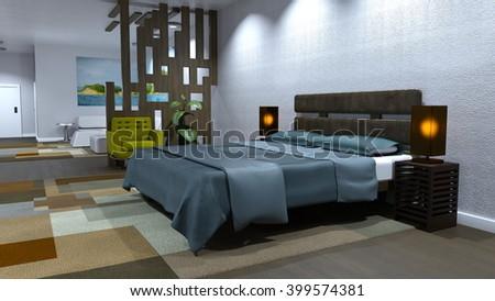 3D CG rendering of bed room - stock photo