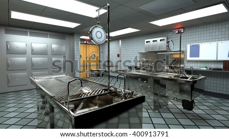 3D CG rendering of morgue