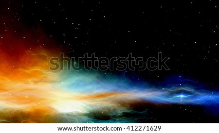 3D CG rendering of outer space - stock photo