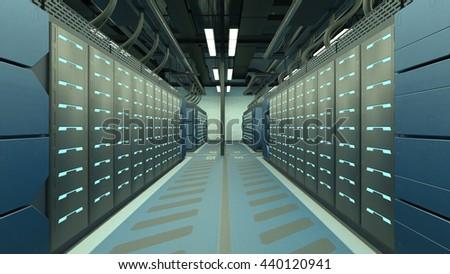 3D CG rendering of Supercomputing Center - stock photo