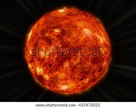3D CG rendering of the Sun - stock photo