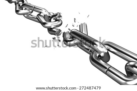 3D. Chain, Freedom, Broken. - stock photo