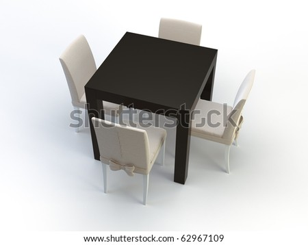 3d chairs and table on the white background