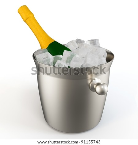 3d champagne bottle with ice  on white background
