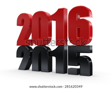 3d 2016... 2015-2016 change represents the new year 2016... - stock photo