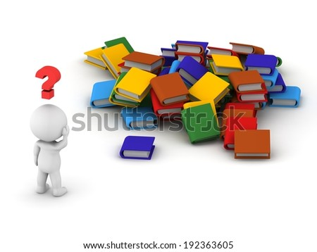3D Character and Pile of Books