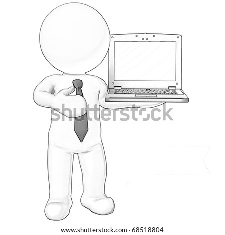3d character business man standing with laptop sketch - stock photo
