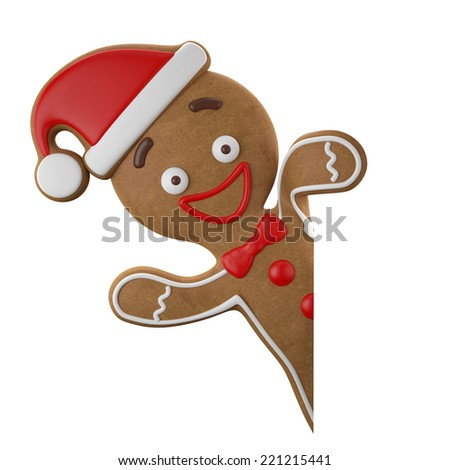 3d character, cheerful gingerbread, Christmas funny decoration, baked sweet candy, baby boy with frosting, funny fresh addition isolated on white background - stock photo
