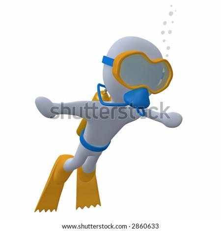 3d character doing scuba diving. - stock photo