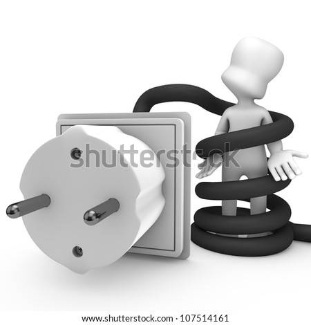 3d character entangled with the cable plug