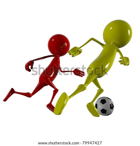 3d character footballer player - stock photo