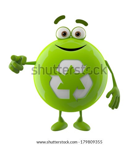 3d character, happy green icon, sign, symbol ecology isolated on white background, recycling arrow - stock photo