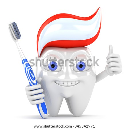 3d character holding a toothbrush thumbs up - stock photo