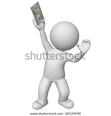 3d character holding 50 dollar bill - stock photo