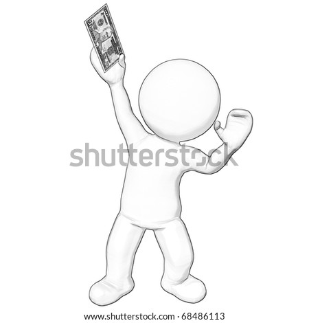 3d character holding 50 dollar bill sketch - stock photo