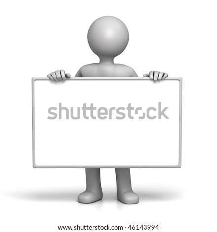 3D Character holding sign board in Front (with Clipping Path) - stock photo