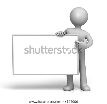 3D Character holding Sign board Side (with Clipping Path) - stock photo