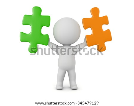 3D character holding two puzzle pieces. Isolated on white background.