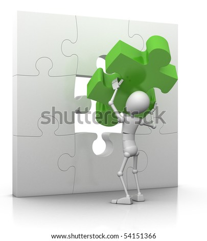3d character lifts last jigsaw piece into place - 3d illustration/render