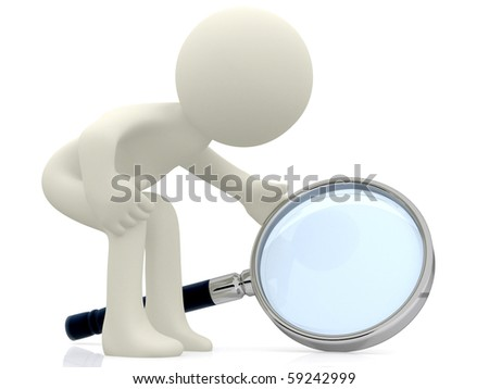 3D character looking through a magnifying glass - isolated over a white background