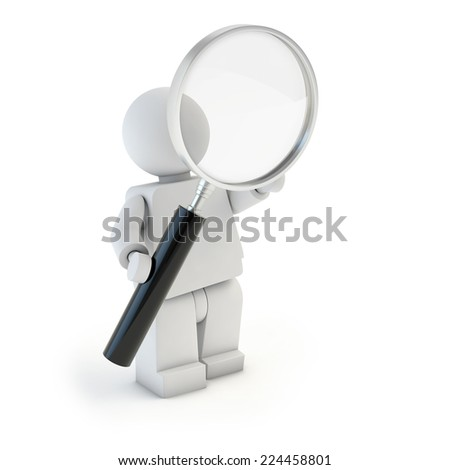 3d character looking through magnifier - stock photo