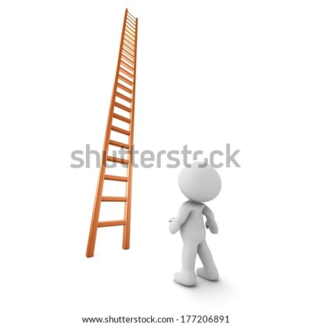 3D Character Looking Up at Very Tall Ladder