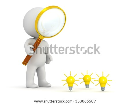 3D character looking with a magnifying glass at some small light bulb ideas. Isolated on white background.  - stock photo