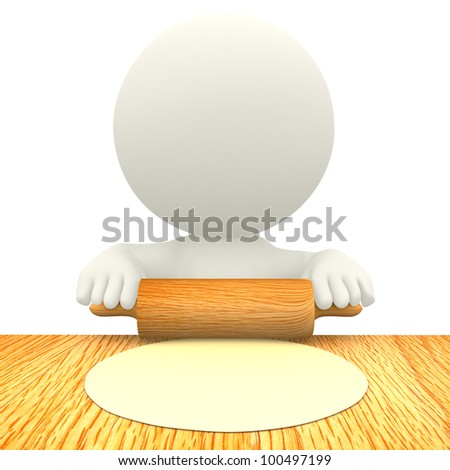 3D character making pizza - isolated over a white background - stock photo