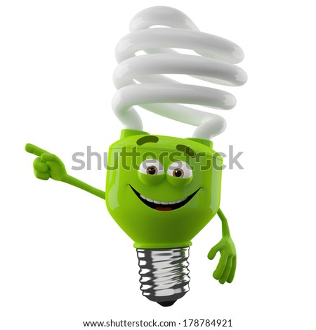 3D character of green spiral light bulb isolated on white background, happy cartoon, eco illustration, pointing save money icon - stock photo