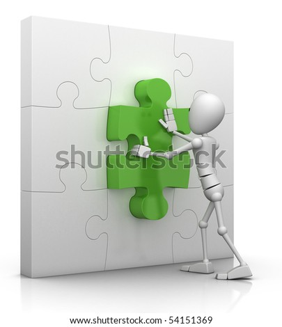 3d character pushes the last puzzle piece into place - 3d illustration/render - stock photo