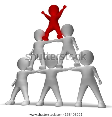 3d Character Pyramid Showing Hierarchy And Teamwork - stock photo