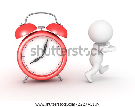 3D character running away from a red alarm clock, isolated on white