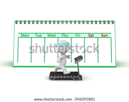 3D Character running on a treadmill with a large week calendar behind him. Isolated on white background. - stock photo