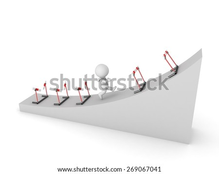 3D Character Running Uphill Through Barriers  - stock photo