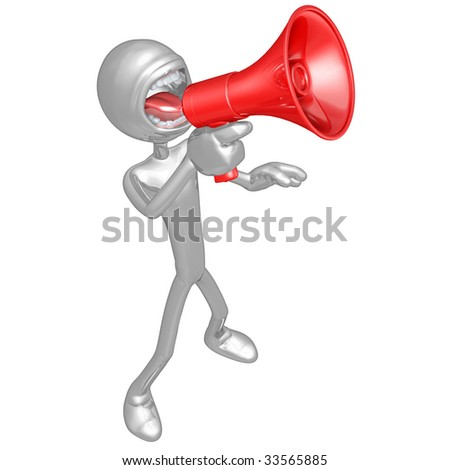 3D Character Screaming Into Megaphone - stock photo