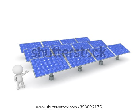 3D character showing an array of solar panels. Isolated on white background.