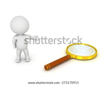 3D Character Showing Magnifying Glass
