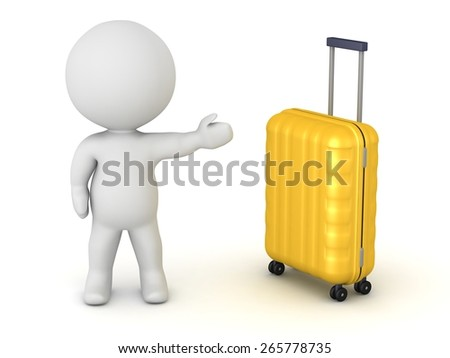 3D Character Showing Travel Trolley  - stock photo