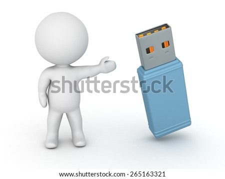 3D Character Showing USB Stick