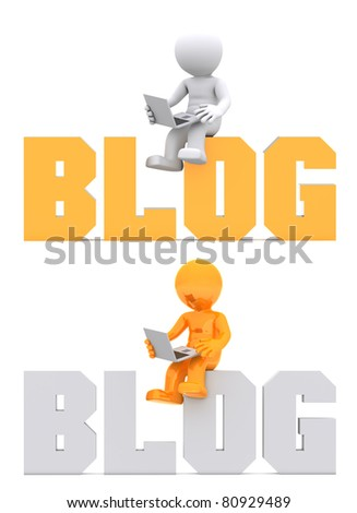 3d character sitting on BLOG domain sign. Isolated on white - stock photo
