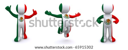 3d character textured with flag of Mexico isolated on white background - stock photo