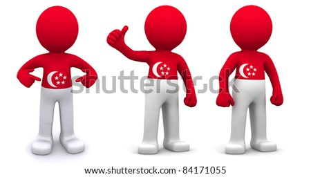 3d character textured with flag of Singapore isolated on white background - stock photo
