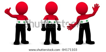 3d character textured with flag of Syria isolated on white background - stock photo