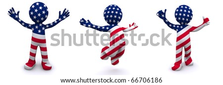 3d character textured with flag of USA isolated on white background - stock photo