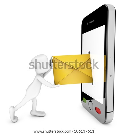 3d character trying to enter an email within a mobile phone - stock photo